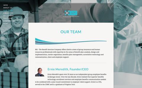 Screenshot of Team Page bsi-va.com - Our Team — BSI - The Benefit Services Company - captured Nov. 2, 2014