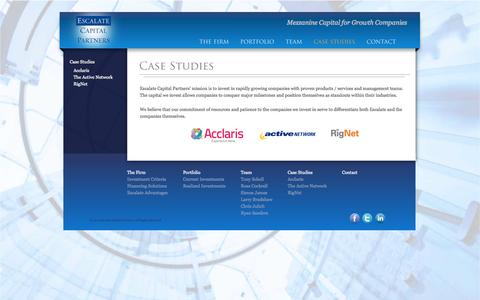 Screenshot of Case Studies Page escalatecapital.com - Escalate Capital Partners | Mezzanine Capital for Growth Companies - captured Sept. 30, 2014