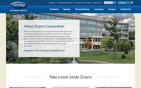 Screenshot of About Page zinpro.com - About Zinpro | Zinpro Performance Minerals | Zinpro Corporation - captured Oct. 2, 2019