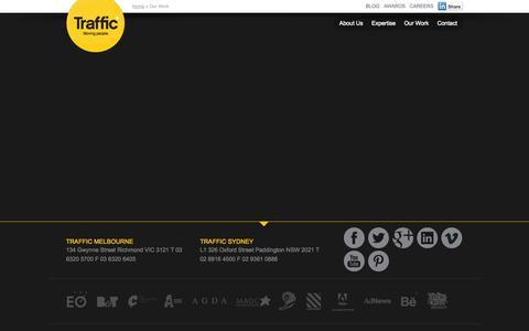 Screenshot of Case Studies Page traffic.com.au - Our Work | Advertising & Branding Campaign Portfolio | Traffic - captured Sept. 19, 2014