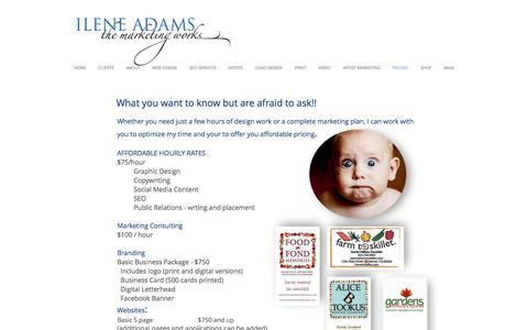 Screenshot of Pricing Page ileneadamsinc.com - Pricing Graphic Design and Marketing services- West Palm Beach Jupiter - captured Nov. 25, 2016