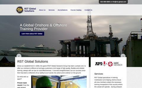 Screenshot of Home Page rst-global.com - RST Global Solutions - captured Oct. 6, 2014
