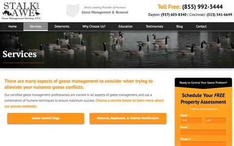 Screenshot of Services Page stalkandawe.com - Goose Control Services Cincinnati Ohio | Stalk & Awe Geese Management - captured May 29, 2019