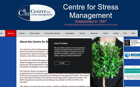 Screenshot of About Page managingstress.com - About the Centre for Stress Management - captured May 25, 2019