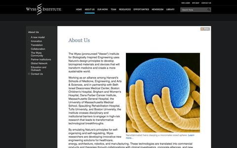Screenshot of About Page harvard.edu - About Us : Wyss Institute at Harvard - captured Sept. 13, 2014