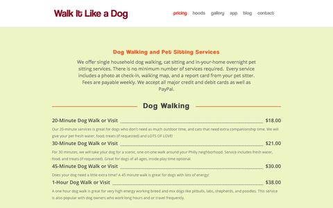 Screenshot of Pricing Page walkitlikeadog.com - pricing | Walk It Like A Dog - captured Sept. 21, 2018