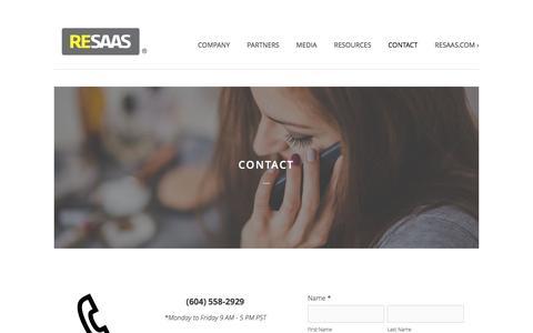 Screenshot of Contact Page resaas.com - Contact Ń RESAAS - captured Dec. 4, 2015