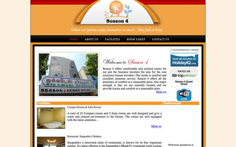 Screenshot of Home Page season4.in - Season 4 Guest House   Guest House   Restaurant   India - captured Oct. 6, 2014