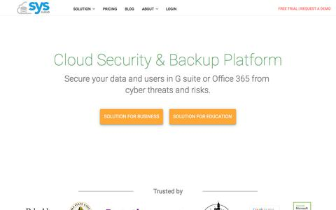 Screenshot of Home Page syscloud.com - SysCloud | Cloud Security, Compliance And Backup Suite - captured Nov. 9, 2017