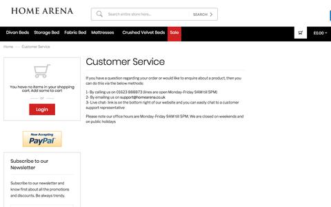 Screenshot of Support Page homearena.co.uk - Customer Service - captured July 14, 2018