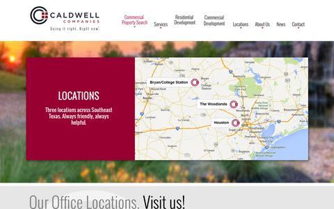 Screenshot of Locations Page caldwellcos.com - Locations | Development | Brokerage | Investment | Management | Caldwell Companies - captured Jan. 24, 2016