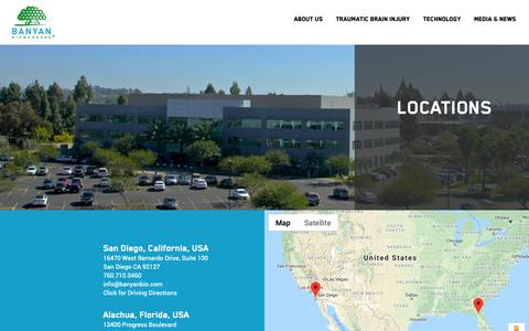 Screenshot of Contact Page Locations Page banyanbio.com - Banyan Biomarkers | Our Locations - captured Oct. 5, 2018