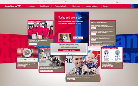 Screenshot of About Page bankofamerica.com - About Bank of America - Service, Commitment & Philanthropy - captured Nov. 4, 2015
