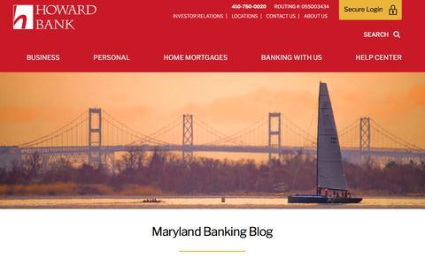 Screenshot of Blog howardbank.com - Maryland Banking Blog | Howard Bank - captured Sept. 21, 2018