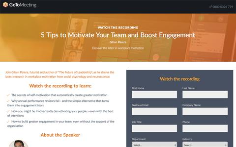 Screenshot of Landing Page gotomeeting.com - 5 Tips to Motivate Your Team and Boost Engagement - captured Sept. 20, 2018