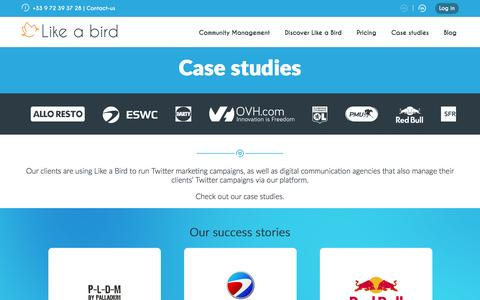 Screenshot of Case Studies Page likeabird.io - Like a Bird Case Studies - captured July 14, 2016