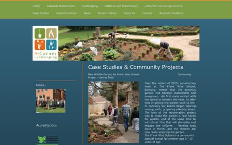 Screenshot of Case Studies Page 4thcorner.co.uk - Case Studies for Landscaping, Grounds Maintenance and New Planting Schemes - captured Dec. 12, 2016