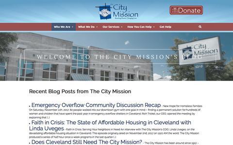 Screenshot of Blog thecitymission.org - Welcome to The City Mission's Blog · The City Mission of Cleveland, Ohio - captured Nov. 16, 2017