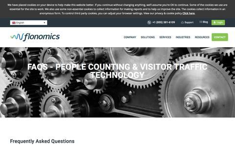 Screenshot of FAQ Page flonomics.com - FAQs - People Counting & Visitor Traffic Technology   Flonomics - captured Aug. 17, 2018