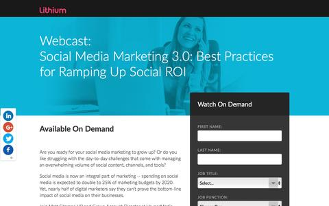 Screenshot of Landing Page lithium.com - Social Media Marketing 3.0: Best Practices for Ramping Up Social ROI - captured May 17, 2017