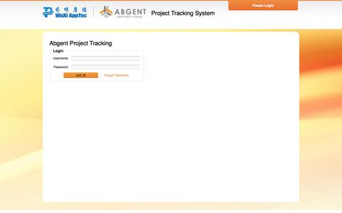 Screenshot of Login Page abgent.com.cn - Abgent Project Tracking - captured Oct. 9, 2014
