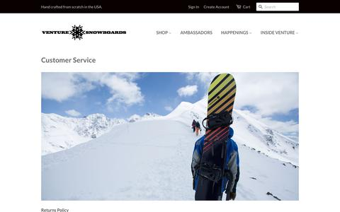 Screenshot of Support Page venturesnowboards.com - Customer Service - Venture Snowboards - captured Dec. 3, 2016