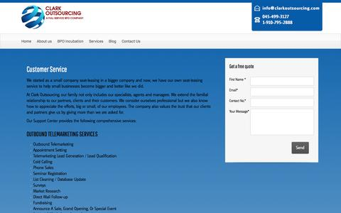 Screenshot of Support Page clarkoutsourcing.com - Customer Service - Clark Philippines Outsourcing - captured Oct. 28, 2014