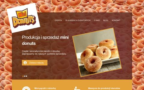 Screenshot of Home Page minidonuts.pl - Mini donuts, maszyna do robienia pączków - atrakcje na imprezy, eventy - captured Oct. 12, 2015