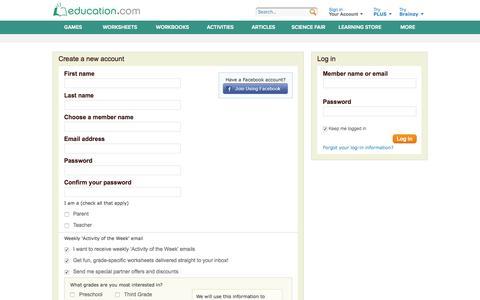 Screenshot of Signup Page Login Page education.com - Register - captured June 16, 2015