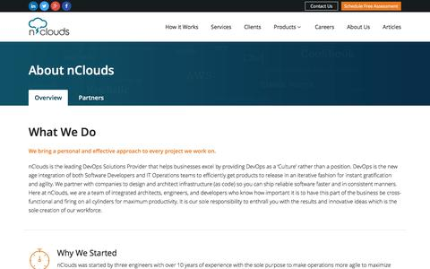 Screenshot of About Page nclouds.com - Devops Managed AWS Automation Service Provider - captured Dec. 6, 2016