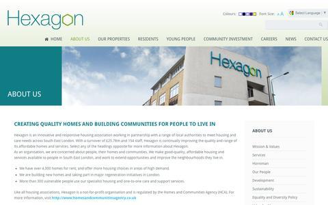 Screenshot of About Page hexagon.org.uk - About Us | Hexagon Housing Association - captured April 12, 2016