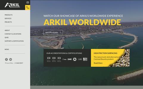 Screenshot of Home Page arkil.ie - Asphalt Surfacing | Building Materials | Arkil Ireland - captured Oct. 8, 2017