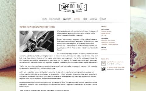 Screenshot of Services Page cafeboutique.co.uk - Services | Cafe Boutique - captured Oct. 1, 2014
