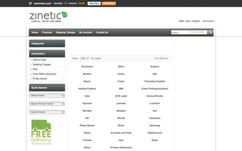 Screenshot of Products Page zinetic.co.uk - To start choose your printer manufacturer - Zinetic.co.uk - captured Aug. 5, 2017