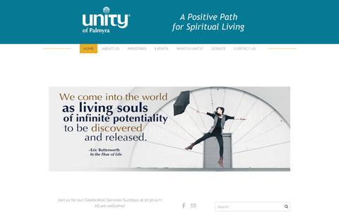 Screenshot of Home Page unityofpalmyra.org - Unity Church - Palmyra, PAA Positive Path for Spiritual Living - Home - captured Nov. 22, 2018