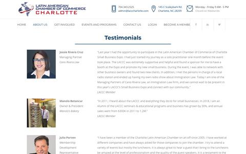 Screenshot of Testimonials Page lacccharlotte.com - Testimonials - LACCC - captured Sept. 27, 2018