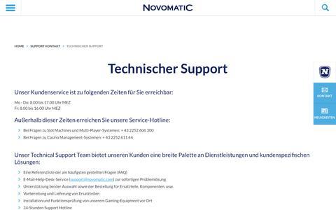 Screenshot of Support Page novomatic.com - Technischer Support - NOVOMATIC - captured Dec. 3, 2016