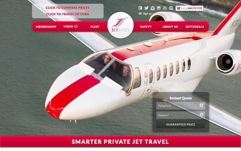 Screenshot of Home Page jetsuite.com - JetSuite | Private Jet Charter Flights – Private Jet Rental Service - captured Feb. 9, 2016