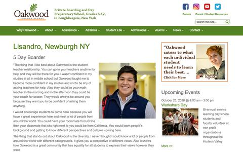 Screenshot of Testimonials Page oakwoodfriends.org - Lisandro, Newburgh NY - Oakwood Friends School, Poughkeepsie NY - captured Oct. 20, 2018