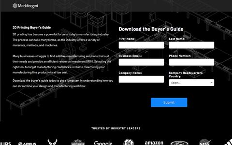 Screenshot of Landing Page markforged.com - 3D Printing Buyers Guide - captured Sept. 22, 2018