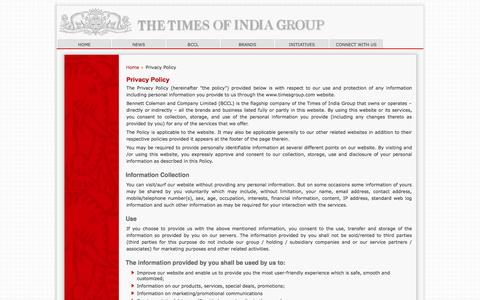 Screenshot of Privacy Page timesgroup.com - Privacy Policy - captured Nov. 1, 2014