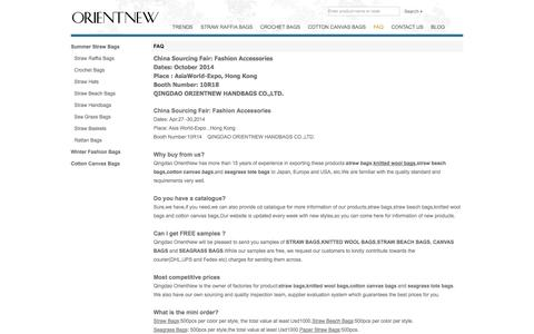 Screenshot of FAQ Page orientnew.com - Why buy straw bags,canvas bags and straw beach bags from Qingdao OrientNew,Free Sample and competitive price!Booth No of Hong Kong Fair. - captured Oct. 2, 2014
