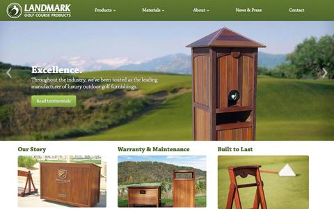 Screenshot of Home Page rinowood.com - Luxury Outdoor Golf Furnishings   Landmark Golf Course Products - captured Oct. 1, 2014