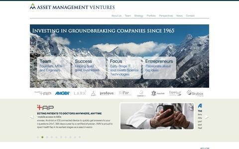 Screenshot of Home Page assetman.com - Asset Management Ventures - captured Oct. 4, 2014