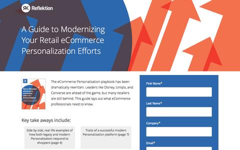 Screenshot of Landing Page reflektion.com - How to Maximize eCommerce Conversions with 1 to 1 Personalization - captured Oct. 20, 2016