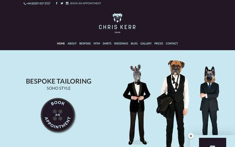 Screenshot of Home Page chriskerr.com - Chris Kerr | Bespoke Suits | Tailored suits | Wedding suits - captured July 29, 2017