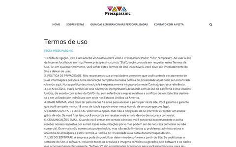 Screenshot of Terms Page presspassinc.com - Termos de uso | Presspassinc - captured July 21, 2018