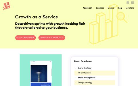 Screenshot of Services Page beresterk.be - Growth as a Service | Beresterk - captured July 5, 2018