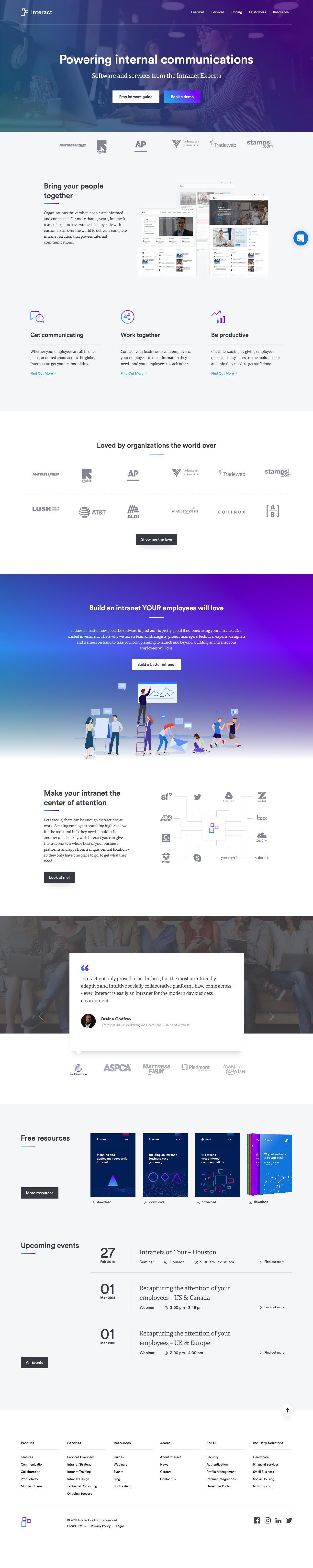 Screenshot of interact-intranet.com - Intranet software that brings people together | Interact Software - captured Feb. 27, 2018