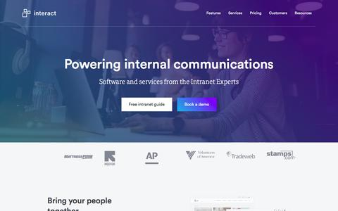 Screenshot of Home Page interact-intranet.com - Intranet software that brings people together | Interact Software - captured Feb. 27, 2018